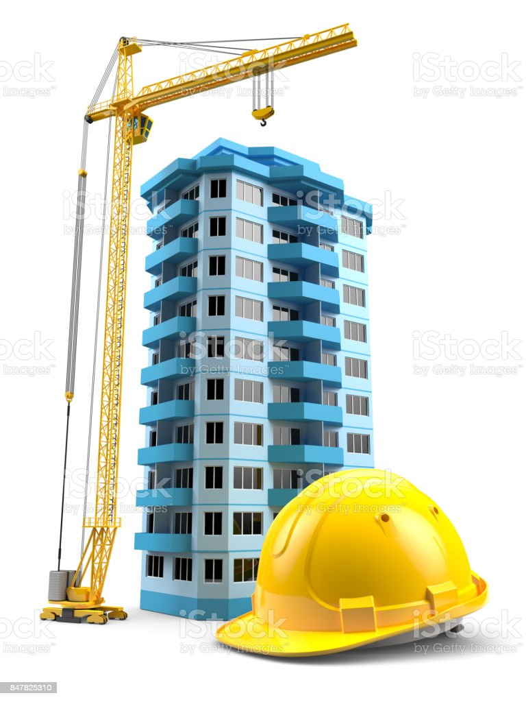 Construction tower crane, helmet and model house stock photo
