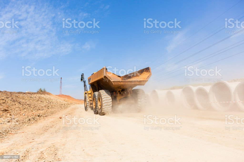 Construction Truck New Road Earthworks Lizenzfreies stock-foto