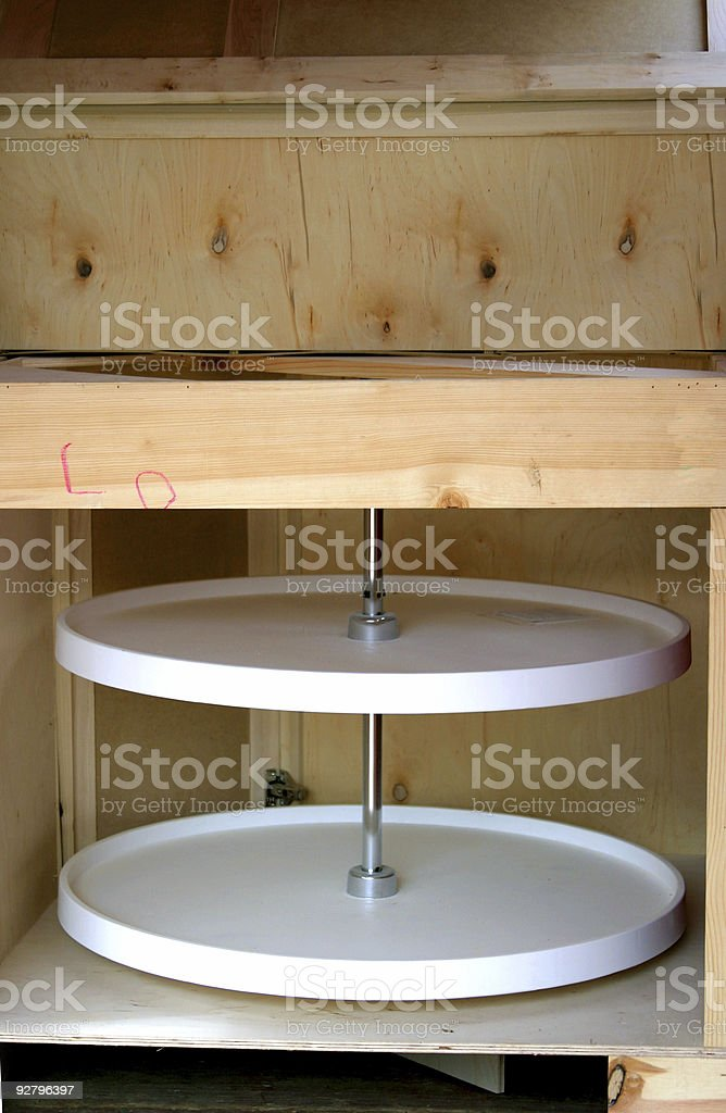 lazy susan stock photo unfinished cabinetry 2 stock photo