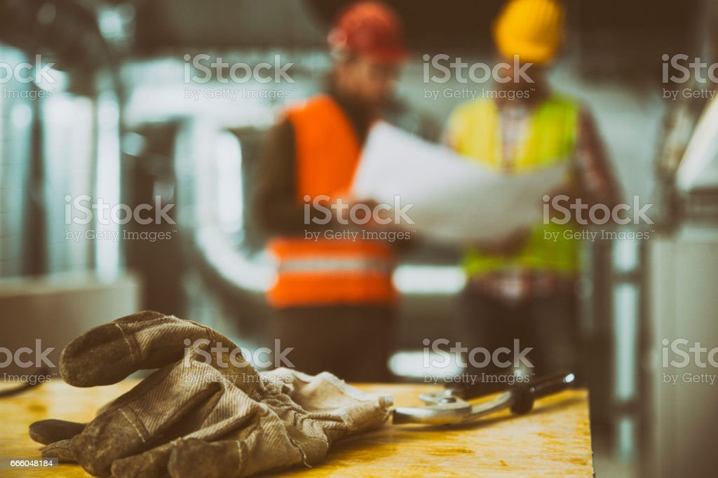 Construction with two workers in the back stock photo