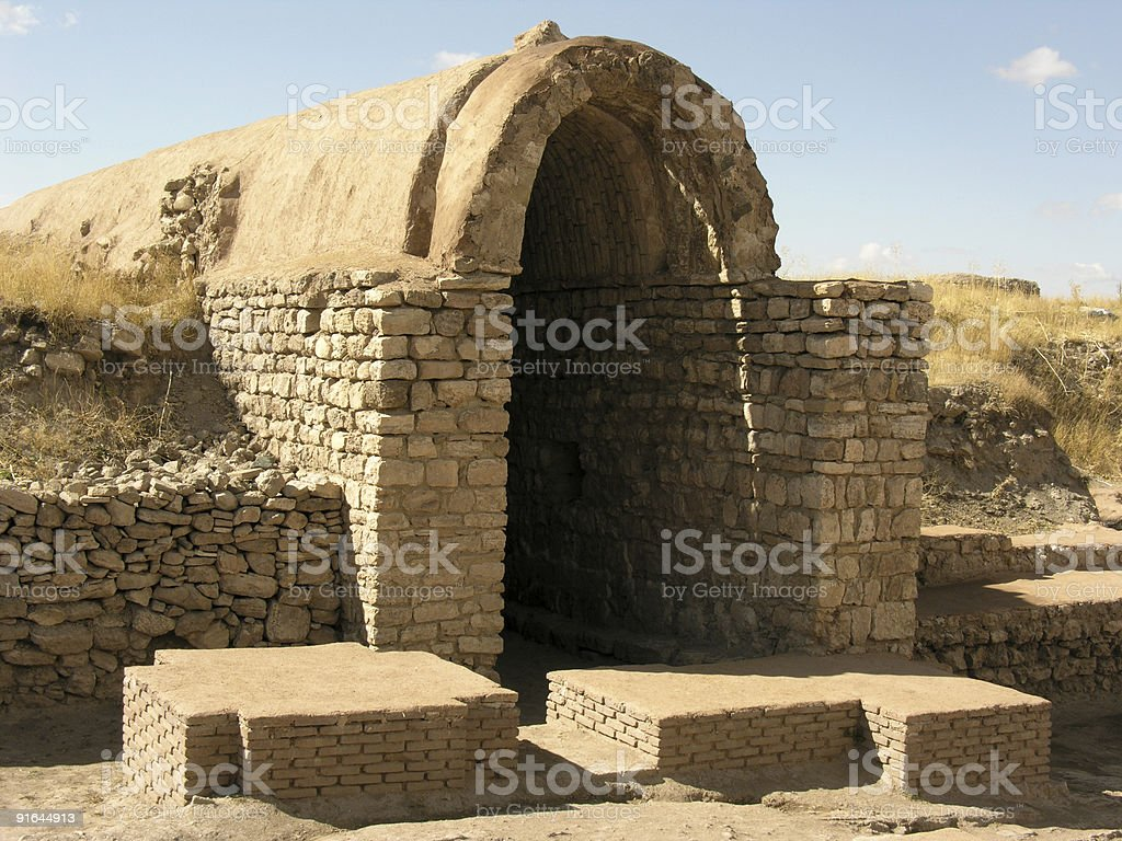 Construction with vaulted roof at Takht-I-Suleiman stock photo