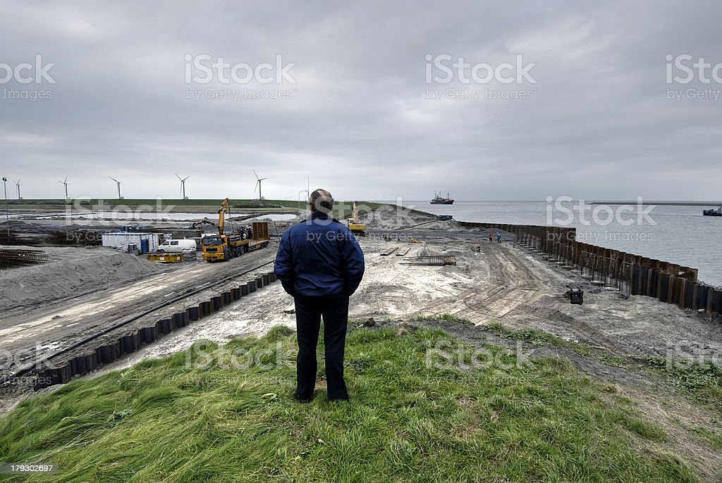 construction work at a dike stock photo