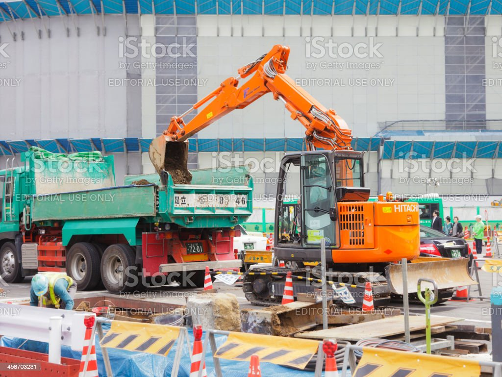 Construction Work at Tokyo Station stock photo