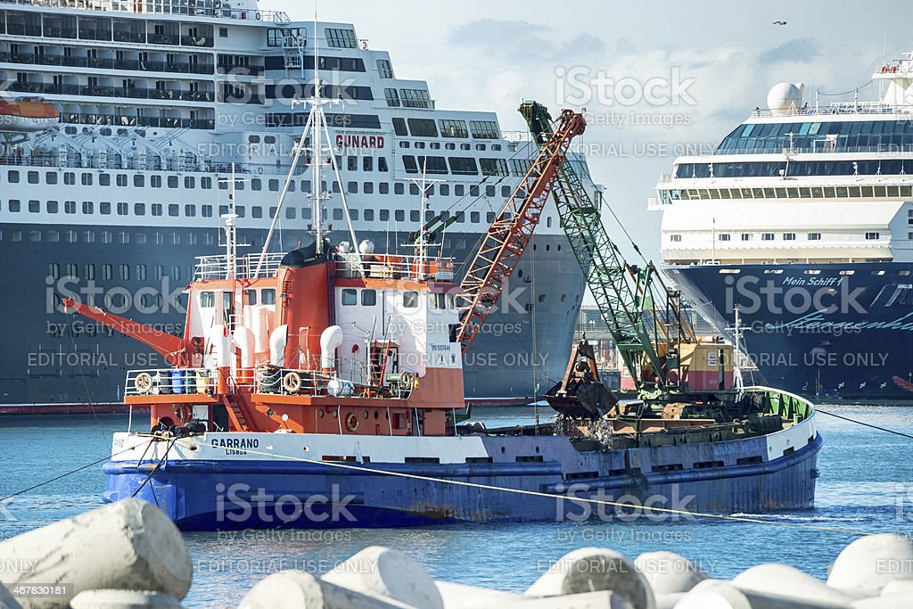 Construction work , harbor, Funchal, Madeira stock photo