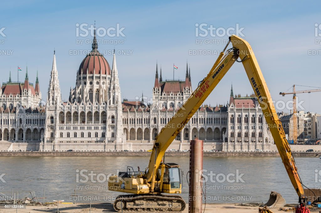 Construction work in Budapest stock photo