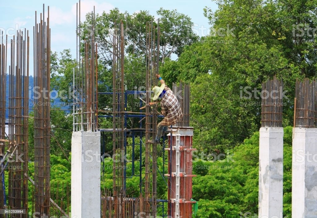 Construction work industry at building site developing of modern stock photo