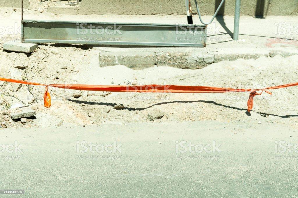 Construction work on the street. stock photo
