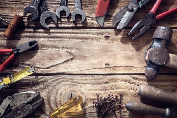 Bauarbeiten Werkzeuge Hintergrund – Foto