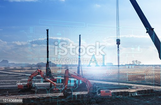 1136415363 istock photo construction work without human intervention, fully automatic production using artificial intelligence, future technology 1214068959