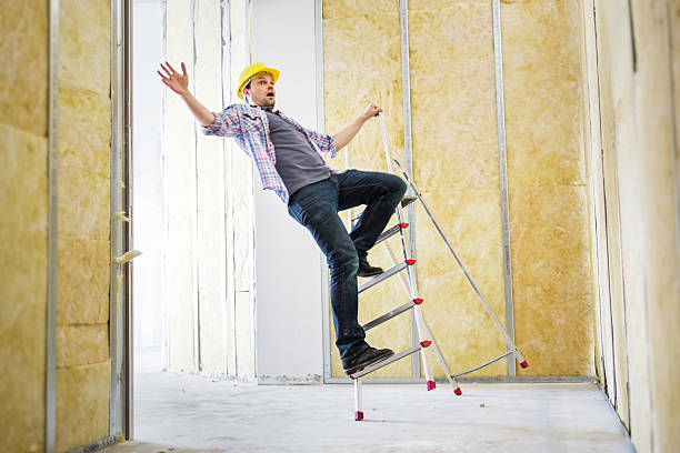 construction worker accident - ladder stock photos and pictures