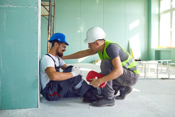 Construction worker accident with a construction worker. stock photo