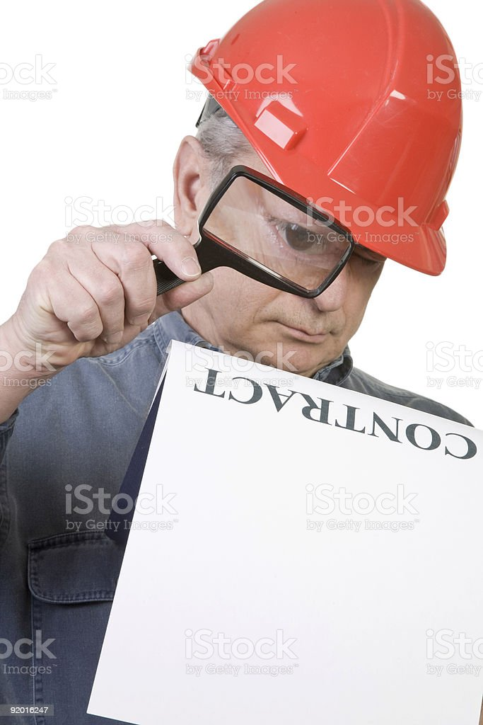Construction Worker and Contract royalty-free stock photo