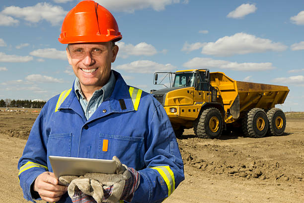 Bauarbeiter und PC – Foto