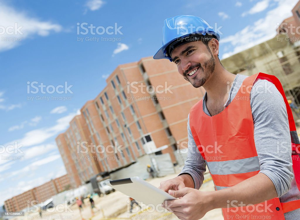 Construction worker at a building site royalty-free stock photo