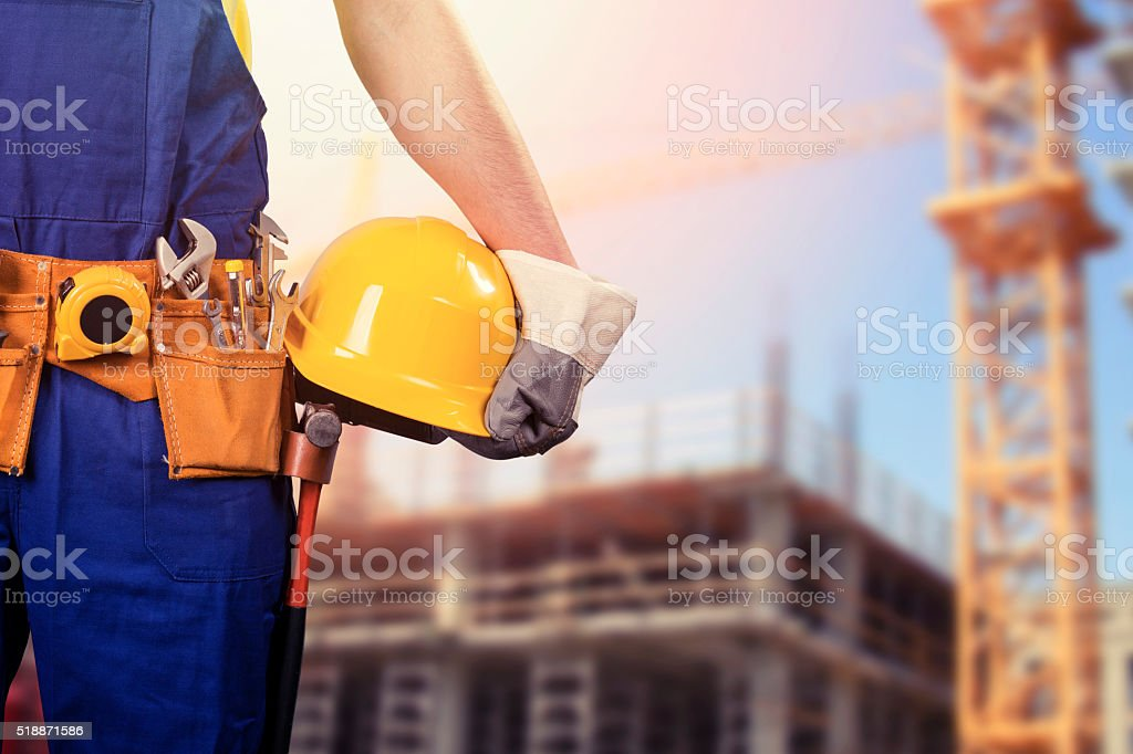 construction worker at building site stock photo