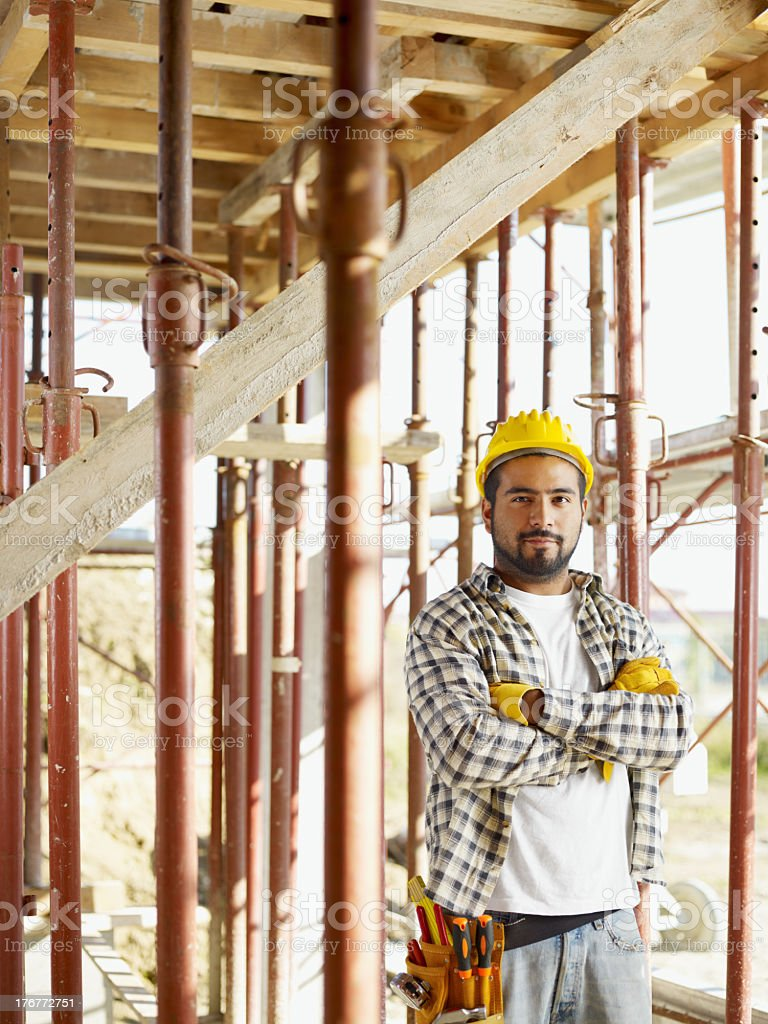 Construction worker at site portrait stock photo
