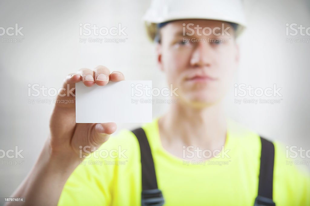 Construction worker business card stock photo