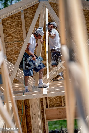 Construction Worker Carpenter Framing and Building a Home