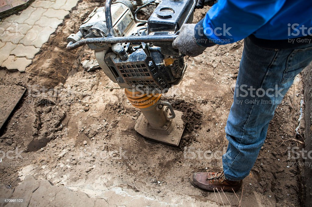 Construction worker concentrated area stock photo