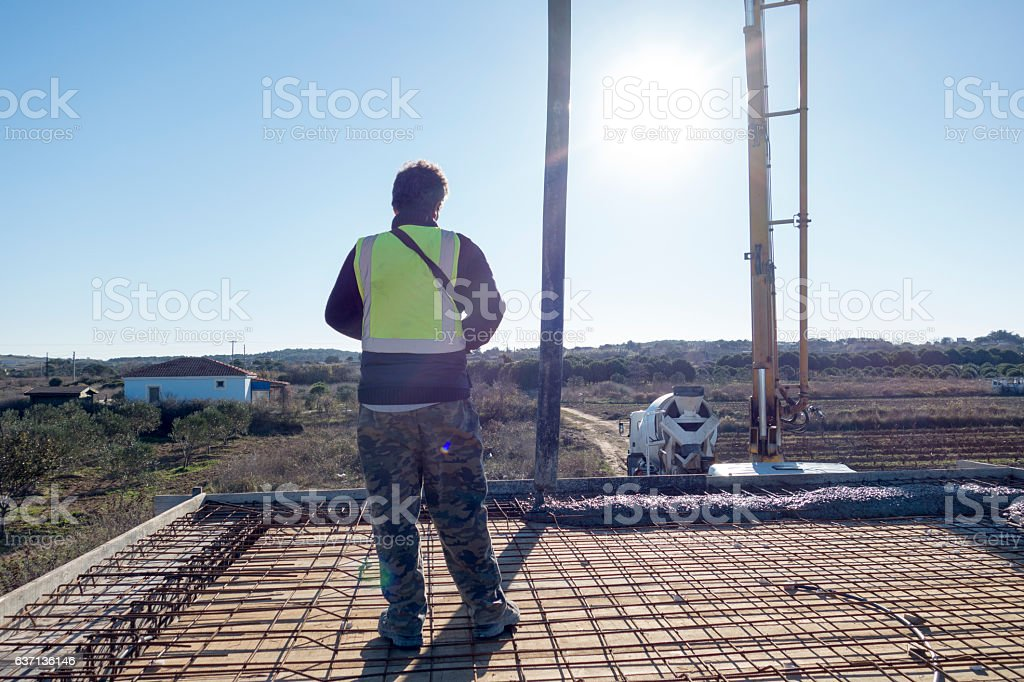 Construction worker concreter stock photo
