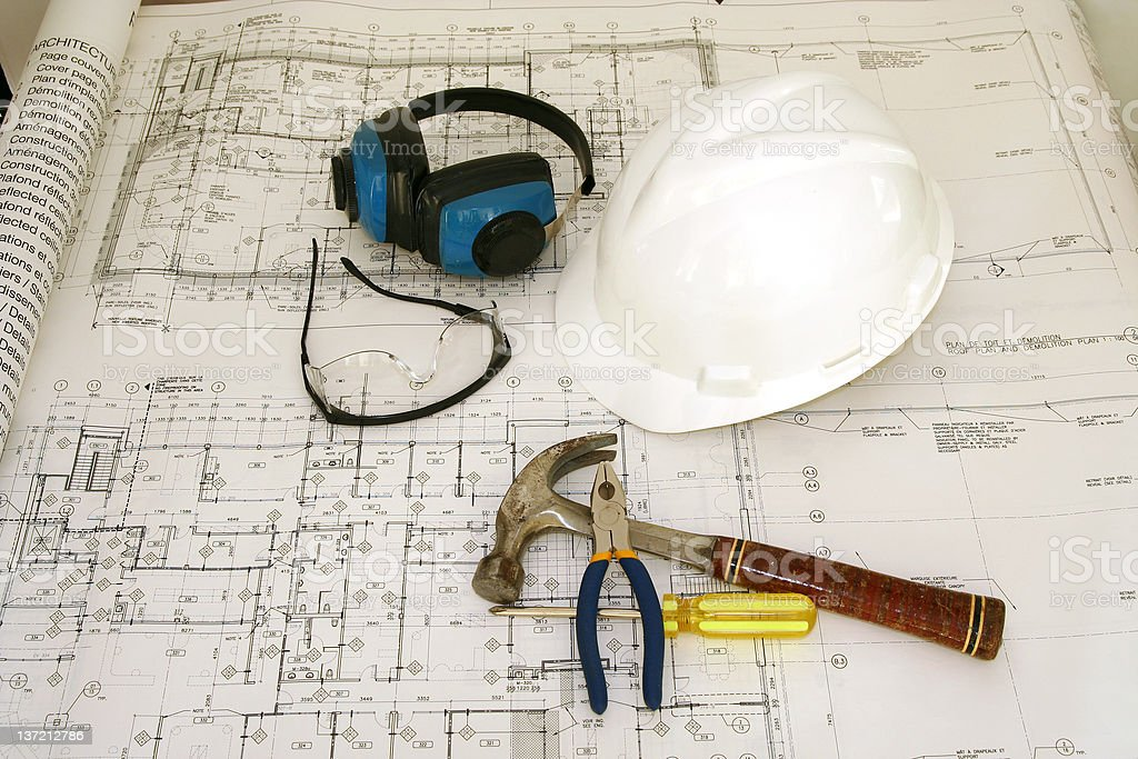Construction worker equipments and drawing royalty-free stock photo