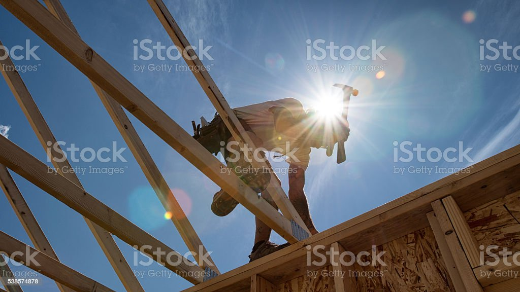 Construction Worker Framing A Building​​​ foto