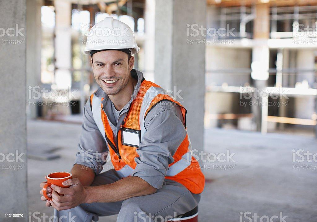 Bauarbeiter, die Kaffeepause auf Baustelle – Foto