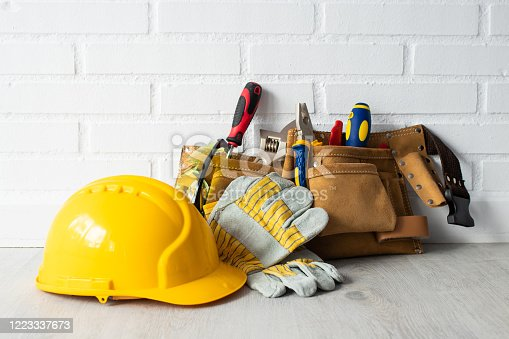 construction worker helmet with tools