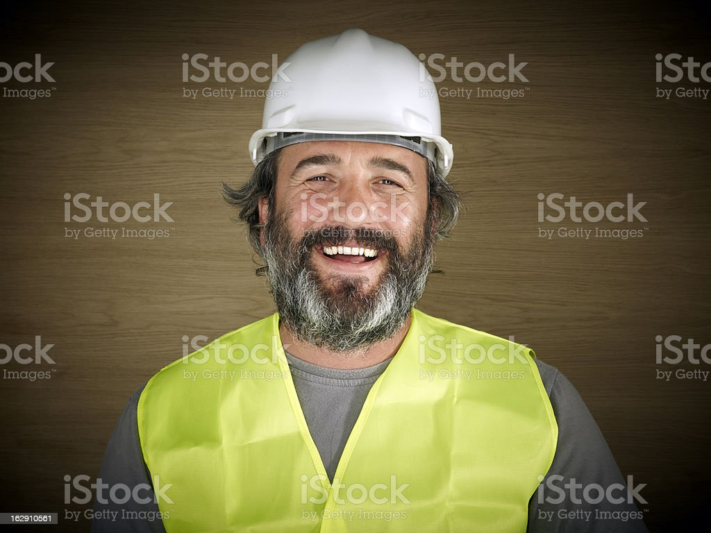Construction worker in white hard hat royalty-free stock photo