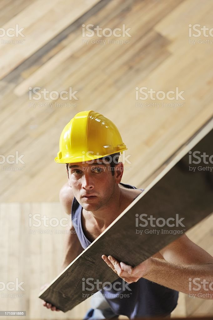 Construction Worker Indoors stock photo