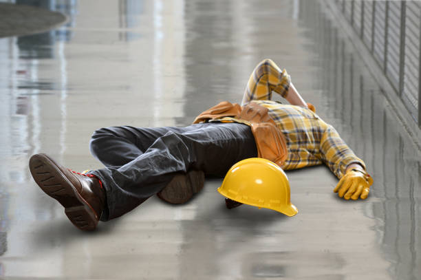 Construction Worker Injured After Fall stock photo