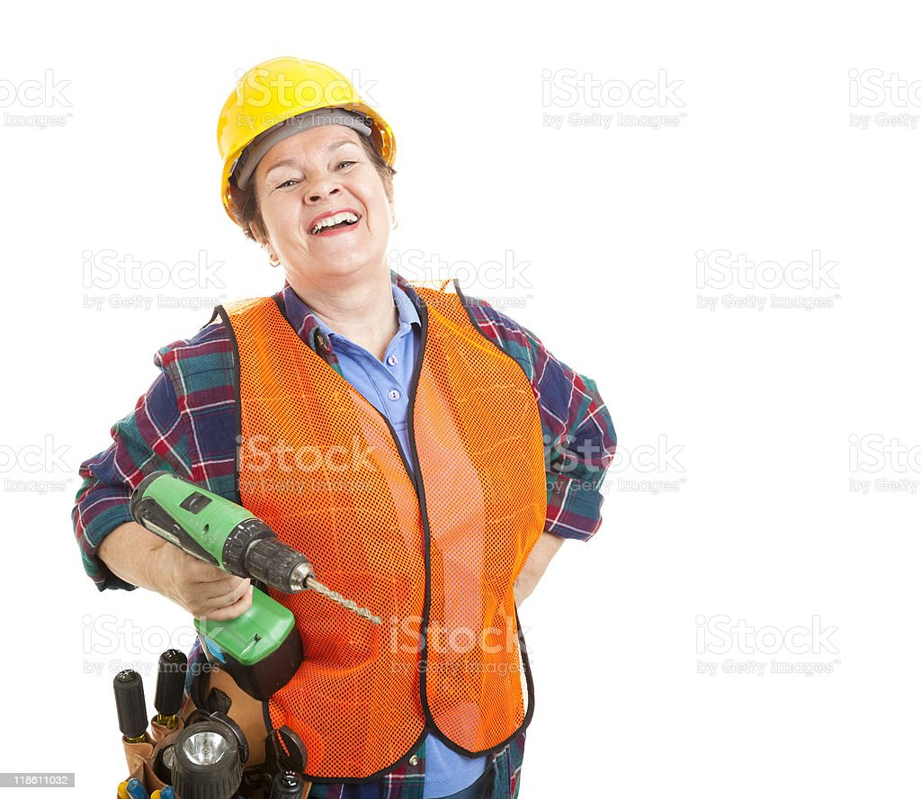 Construction Worker Loves Her Job royalty-free stock photo