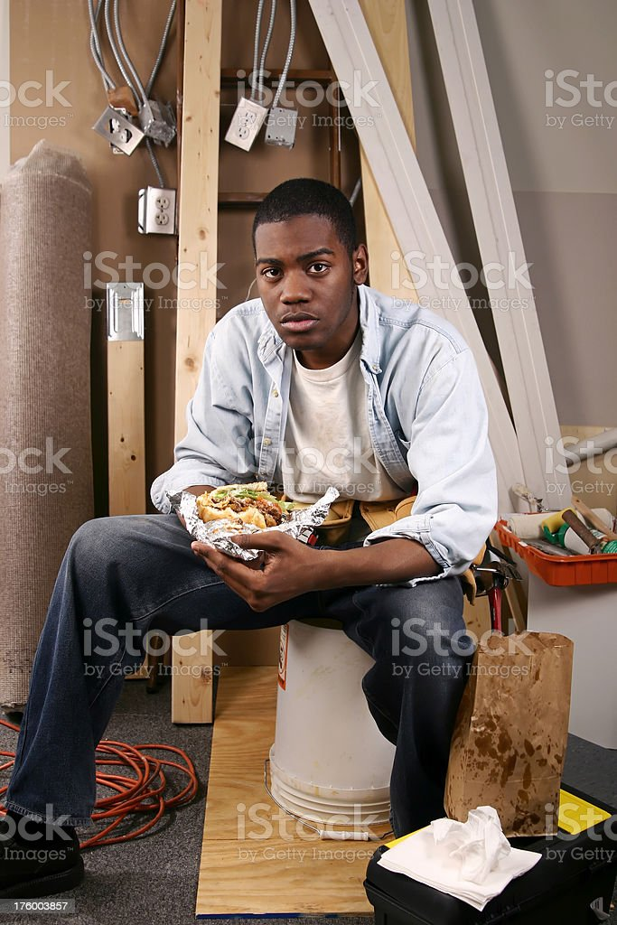Construction Worker Lunch stock photo