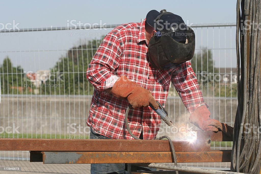 Construction worker on a building pit. stock photo