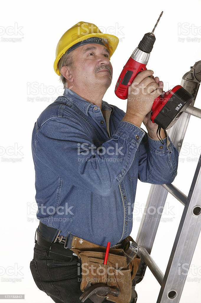 construction worker on a ladder royalty-free stock photo
