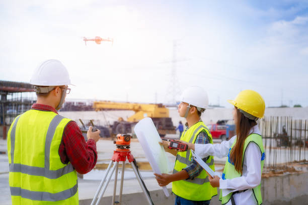 Construction worker on building site. stock photo