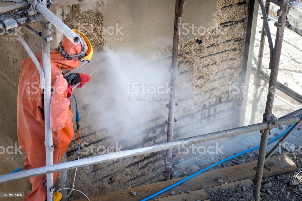 Construction worker on scaffold stock photo