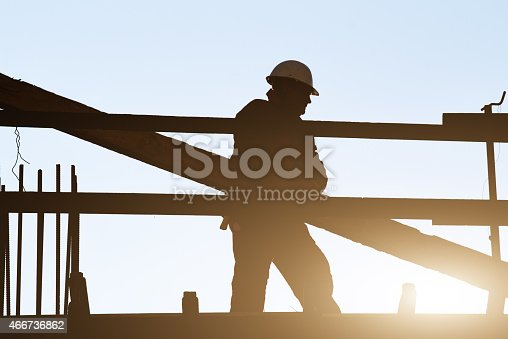istock Construction worker on site. 466736862
