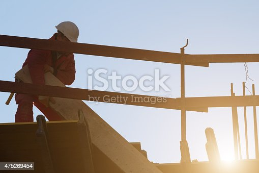istock Construction worker on site. 475269454