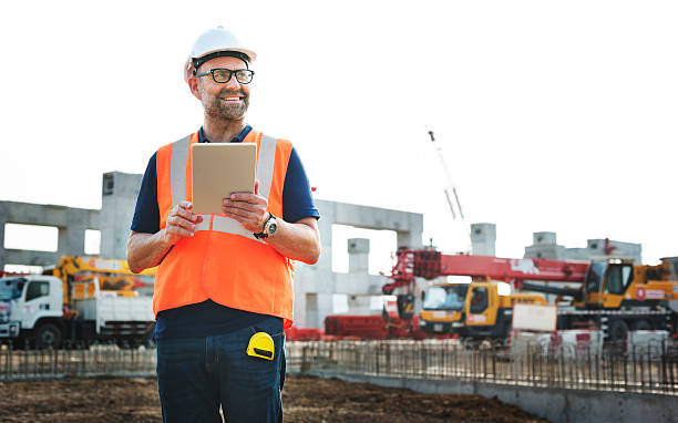 Construction Worker Planning Contractor Developer Concept stock photo