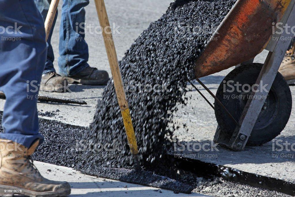 Shot to capture the flow of hot asphalt.
