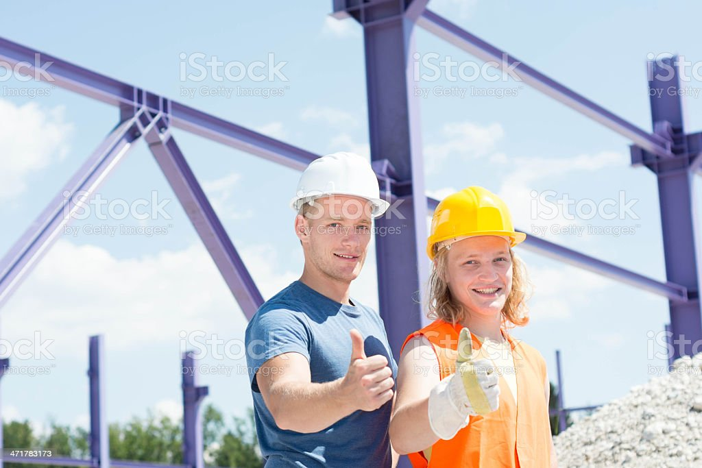Construction worker showing thumbs royalty-free stock photo