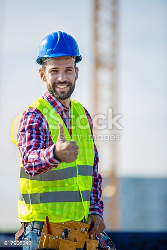 617878058 istock photo Construction worker showing thums up 617908242