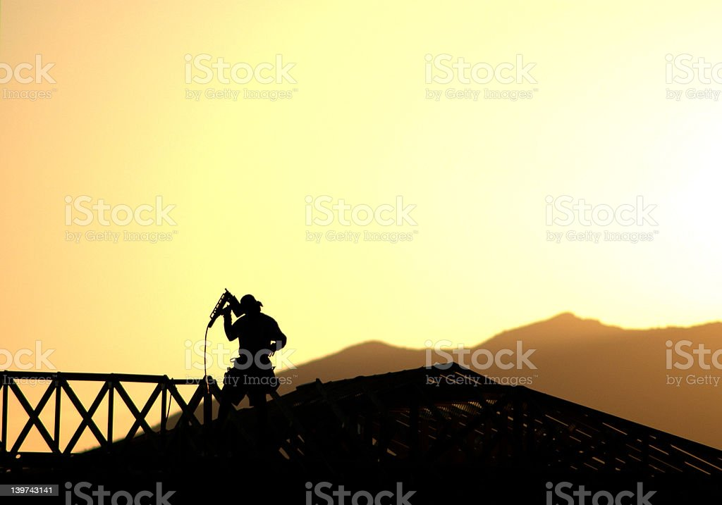 Construction Worker Silhouette royalty-free stock photo