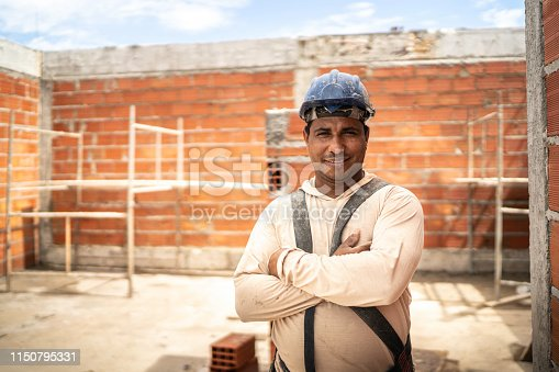 Construction worker standing in a construction site