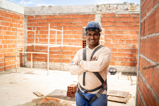 Construction worker standing in a construction site stock photo