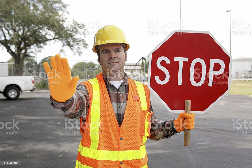 Construction Worker Stop stock photo