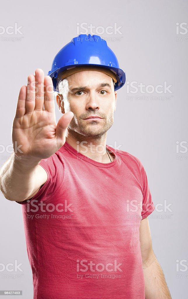 Construction worker - STOP! royalty-free stock photo