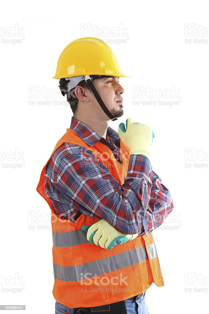 Construction Worker Thinking royalty-free stock photo