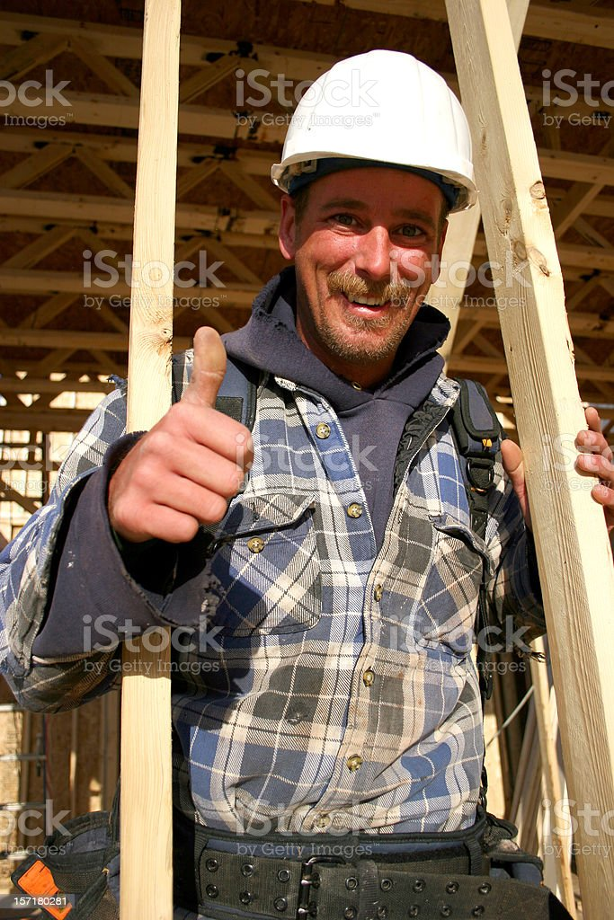 Construction Worker Thumbs Up royalty-free stock photo